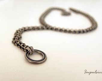 Silver O-RING Collar, O Ring Drop Chain Choker, Day collar, Bondage BDSM Inspired Collar, Submissive Collar, Grunge Jewelry, Halloween Gift