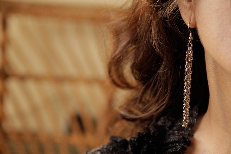 Silver Chain Earrings Dangle Hook Earrings Long Chain 7 Centimeters