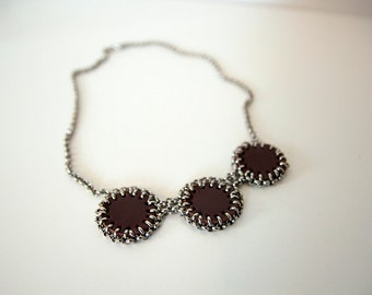 Leather N Chain necklace with three ornate leather circles, Leather circles necklace, Recycled leather jewelry,  Gift