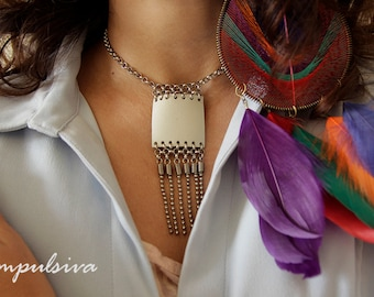 Leather Pendant Necklace and Silver Chain Fringe, Square Leather pendant, Leather Jewelry, Boho Chic Necklace, special Handmade Gift