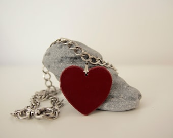 Red Heart Necklace, Leather Heart Shaped Pendant Necklace, Short Chunky Necklace, Curb Link Chain, Leather Jewelry,  Gift