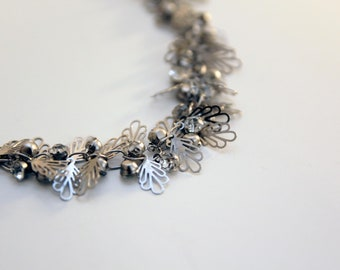 Silver Leaf Necklace with Zircon, Romantic Floral Necklace, Nature Necklace , Bridal Jewelry, Unique Handmade Gift