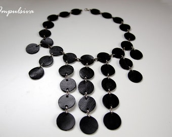Leather Necklace Black Waterfall, Statement Leather Disk Necklace, Leather Jewelry,  Gift