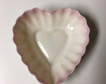 Baaleek Irish made in 1955 Dish with Pink Ombre Edges Lower Price!