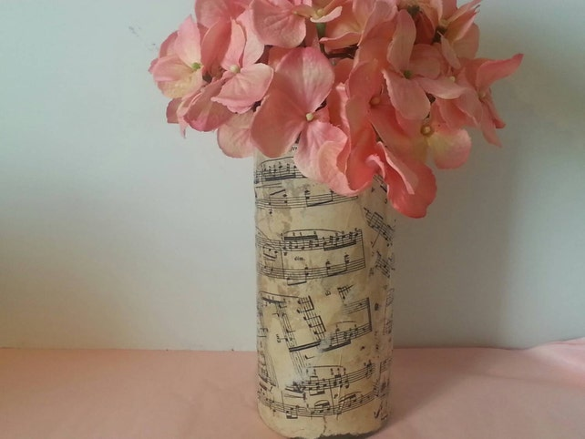 Tall Cylinder Sheet Music Vase Candle Holder Music Note Etsy
