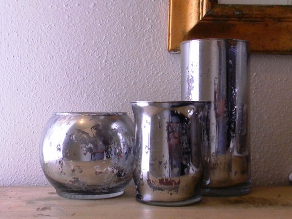 Wedding Centerpiece Set Of Mercury Glass Vases Candle Etsy