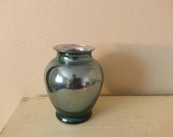 Blue Tinted Mercury Glass Vase -Blue Reflective Vase