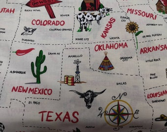US States Fabric, 100% Cotton fabric, Fabric by the Yard