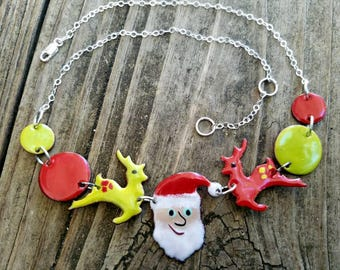 Santa and reindeer necklaces