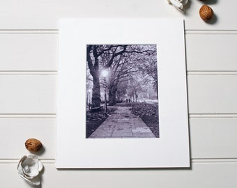 Liverpool print, Princes Avenue in Mist, Black and white photography made using a vintage camera