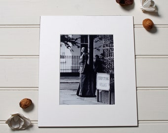 Period drama print. BBC Filming the Crimson Petal and the White, black and white photography made using a vintage camera