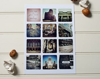 "Liverpool Hope St. montage print // ""With Hope in Your Heart"" // A4 size // Colour photography"