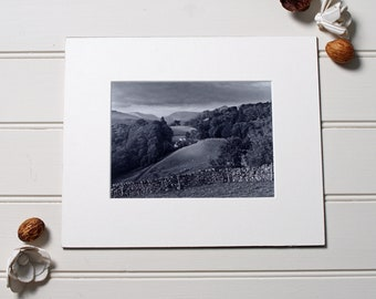 Lake District print, View over Troutbeck, black and white photography, made using vintage camera
