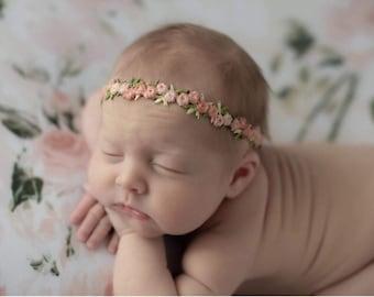 Baby Photo Headband Baby Gift Newborn Headband Peach Baby Girl Headband Chic Headband Light Peach Eyelet Baby Headband