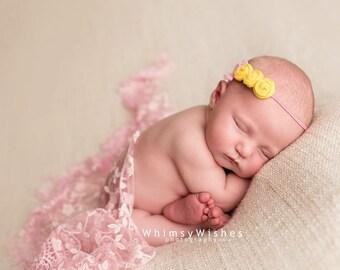 Yellow Pink Baby Headband , Triple yellow rosettes headband , Newborn yellow pink headband
