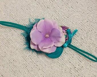 Purple teal Headband , Double Rosettes Headband,Purple Flower Headband,Baby Flower headband