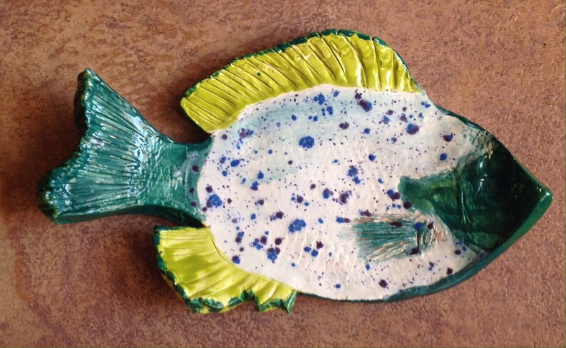 Dish for Dad With Fish and Leaf Quilted Design Ceramic Dish Gift for Dad Birthday Gift