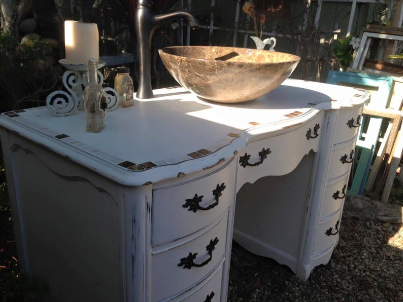 Sold Bathroom Vanity Desk Dresser Mosaic Tile Antique Cottage Chic With Mother Of Pearl Copper White Marble Vessel