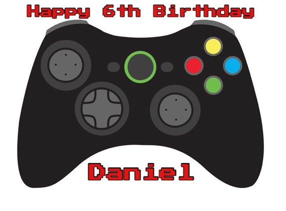 Video Game Controller Happy Birthday Custom Edible Cake Topper