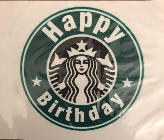 Coffee Happy Birthday Edible Cake Topper
