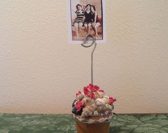 By the Sea Photo Holder. Pail of Sea Shells, Wooden Beach Bucket