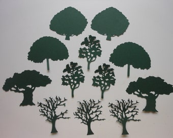 12 Die Cut Hunter Green Trees -cc