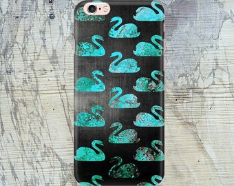 Swans iPhone 6s case, iPhone 6 PLus Case Birds, Black and Teal iPhone Case