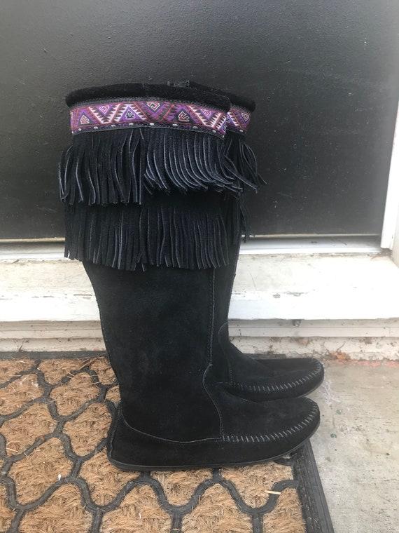 Vintage Black Minnetonka Fringe Boots