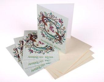 Set of 3: American River Blackberries & Lizards Notecards