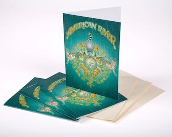 Set of 3: American River Fox, Raccoon & Poppy Notecards