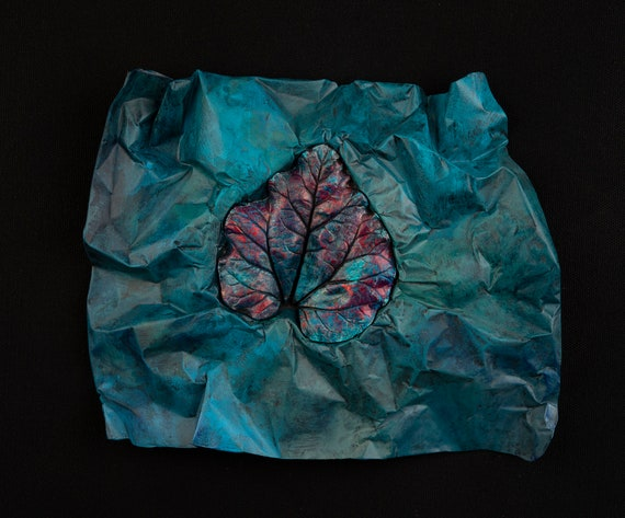 Wrapped in Blue – Small  Leaf Casting – Art From the Garden