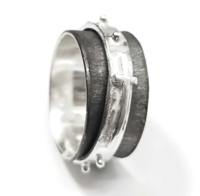 with internal text Silver rosary ring spinner blackened version handmade forged and soldered