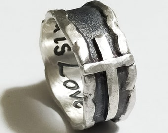 Silver ring with cross and melted hammered edges, Satin and blackened centre, handmade. With personalized text inside.