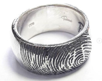 Engraved custom fingerprint Sterling Silver Ring with personalized text, memorial ring.