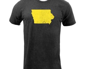 Distressed Iowa State Shape - Tri Black