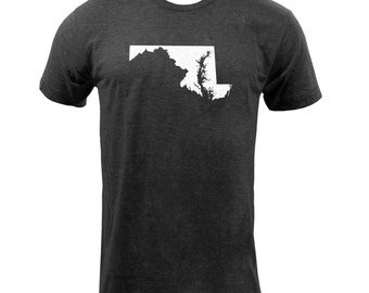 Distressed Maryland State Shape - Tri Black