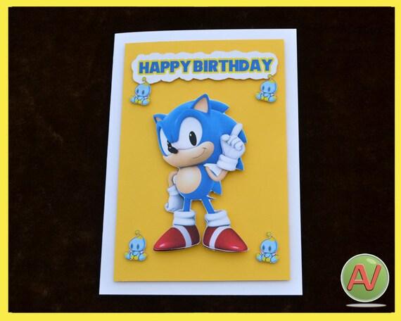 Sonic The Hedgehog 3d Birthday Card Etsy