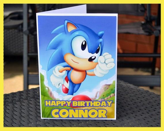 Sonic The Hedgehog Birthday Card With Custom Name Etsy