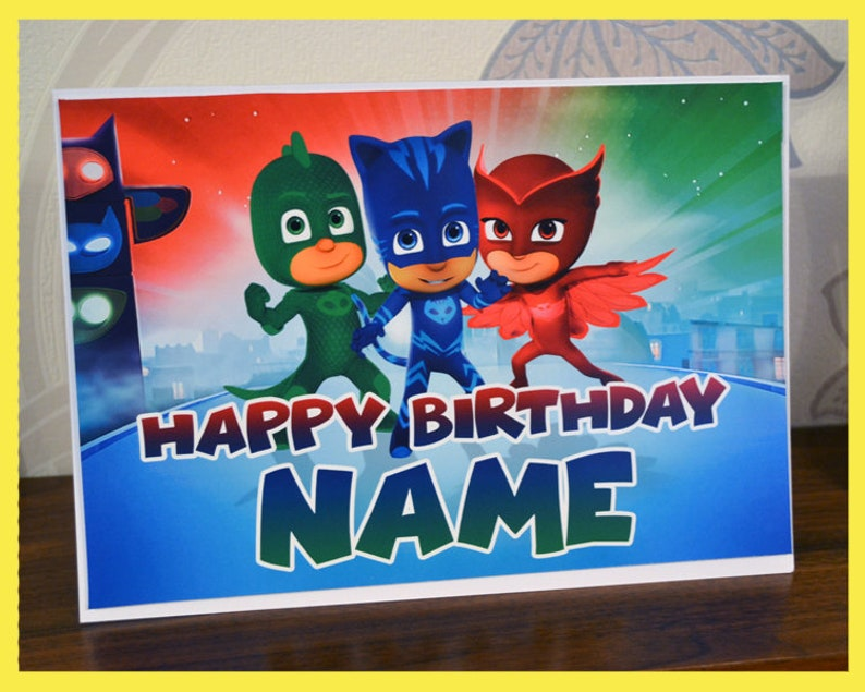 PJ Masks Birthday Card With Custom Name