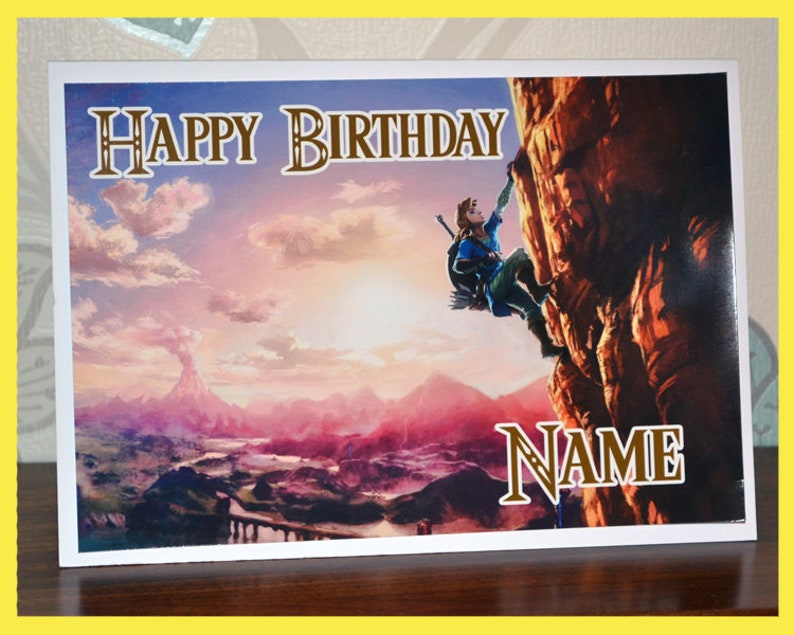 Zelda Breath Of The Wild Birthday Card With Custom Name