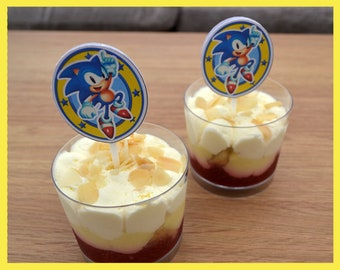 Sonic the Hedgehog cupcake toppers.