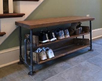 Handmade Bench Shoe Stand Combination