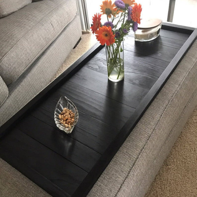 Handmade Wide Ottoman Tray / Table Top / Great Gift Black