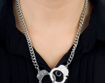 Chunky Steel Working Handcuffs Necklace