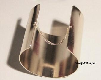 Mirrored Chain Wide Cuff Bracelet,  Adjustable