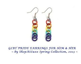 GLBT Gay Lesbian Bi Transgender Pride Rings Dangle Earrings - New Item