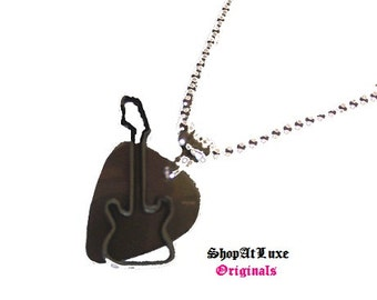 Steel Guitar Pick Necklace with New Style of Electric Guitar Dangle