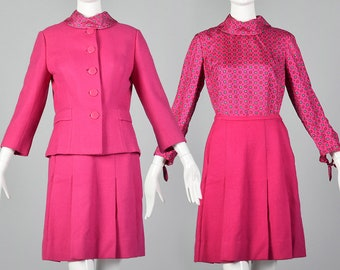 b186cfe76 XS Hot Pink 3 Piece Skirt Suit Vintage 1960s Long Sleeve Blouse Fitted  Jacket Pleated Skirt 60s Womens Suit Separates