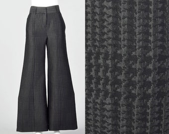 9b5715cccef4c XS 1990s Giorgio Armani Wide Leg Pants Black on Black Houndstooth Low Rise  Pants Silk Wool Blend Separates 90s Vintage