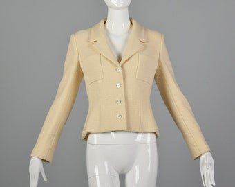 3de06627e056 Medium Chanel 1990s Cream Wool Jacket Vintage Chanel Blazer 90s Chanel Wool  Jacket with Mother of Pearl Buttons